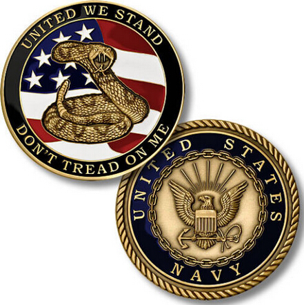 custom U.S. Navy Seal Don't Tread on Me Challenge Coin new oem custom coins cheap soft enamel round Coins image