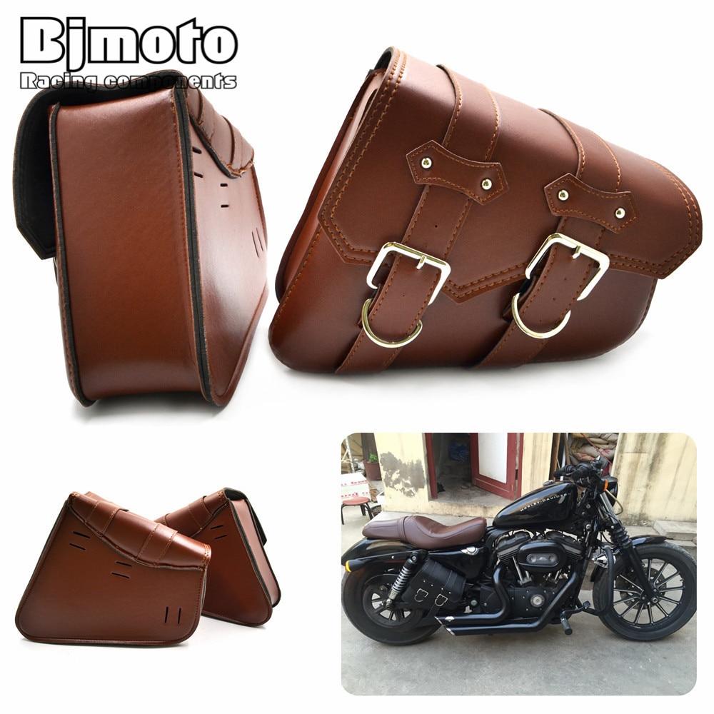 BJMOTO 2x Universal Motorcycle PU Läder Sadelväskor Kryssare Förvaringsverktygspåsar För Harley Sportster XL883 XL1200