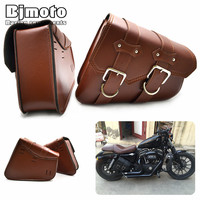 BJMOTO 2x Universal Motorcycle PU Leather Saddle bags Cruiser Side Storage Tool Pouches For Harley Sportster XL883 XL1200