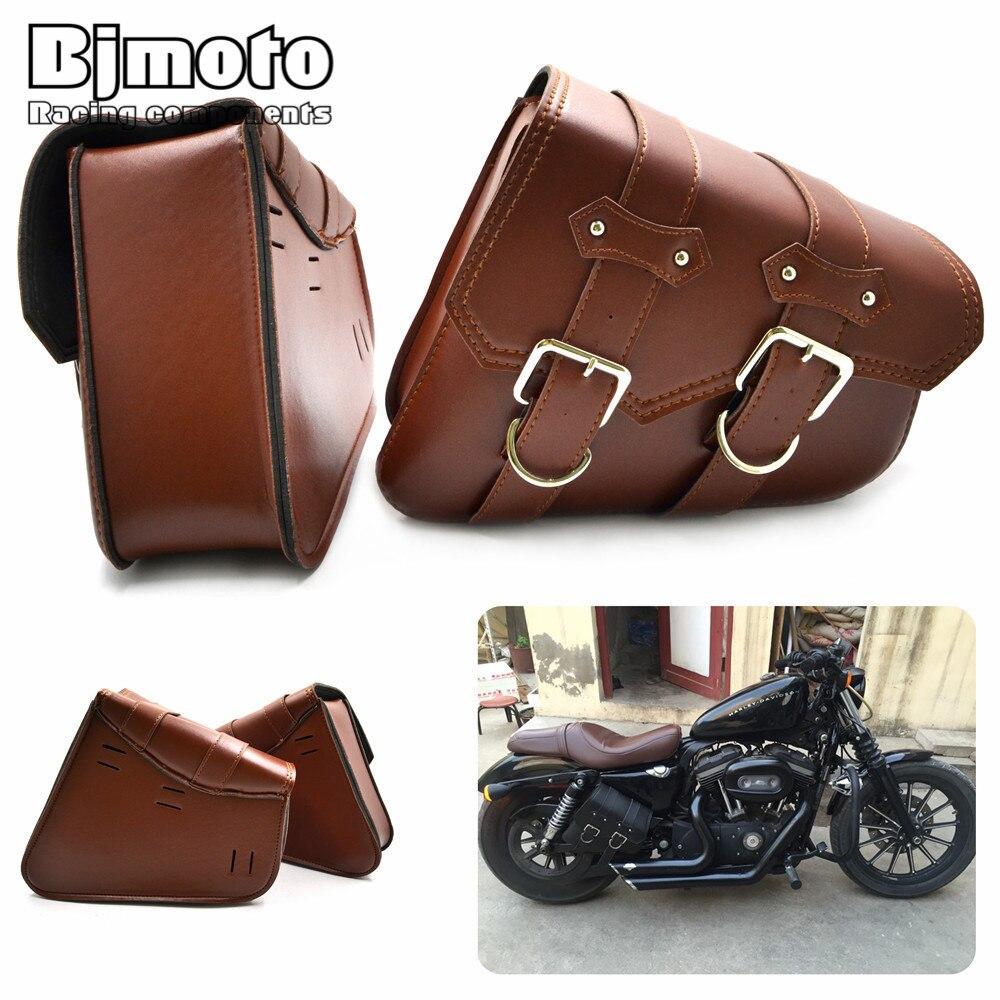 Bjmoto 2x универсальный мотоциклетная куртка из искусственной кожи Сумы Cruiser боковые хранения сумки инструмент для Harley Sportster XL883 XL1200