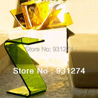 ONE LUX Acrylic occasional sofa end Z Table, Lucite Plexiglass Small Coffee Tea Magazine Tables-Various colors hot sale c shaped waterfall acrylic occasional side table