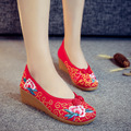 Red Old Peking Women's Shoes Chinese Flat Heel With Flower Embroidery Comfortable Soft Canvas Shoes Plus Size 41