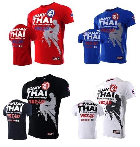 VSZAP MUAY THAI Fighting Thai Boxing MMA Sports Broadcast Short Sleeve T - Shirt Fitness Fighting Martial Arts Men