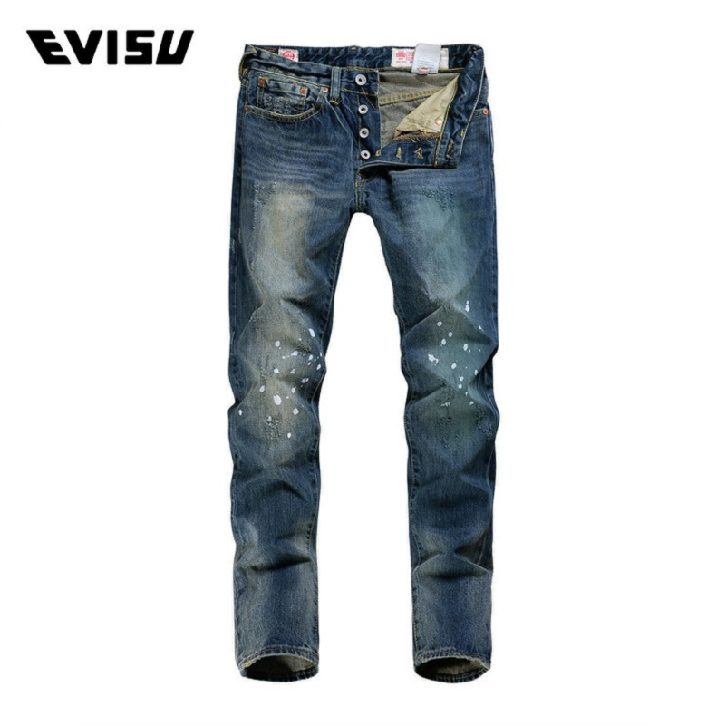 Evisu Brand Biker Jeans Men Cool Hip Hop Trousers Male Casual Regular Straight Jeans Mens Button Scratched Long Pants 6183