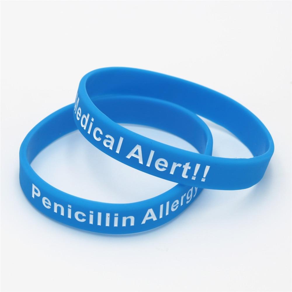 3pcs Hot Sale Bracelets Medical Alert Penicillin Allergy Silicone Wristband Armband Nurse Bangles Adult 3 Colours Gift Sh093 In Hologram Bracelets From