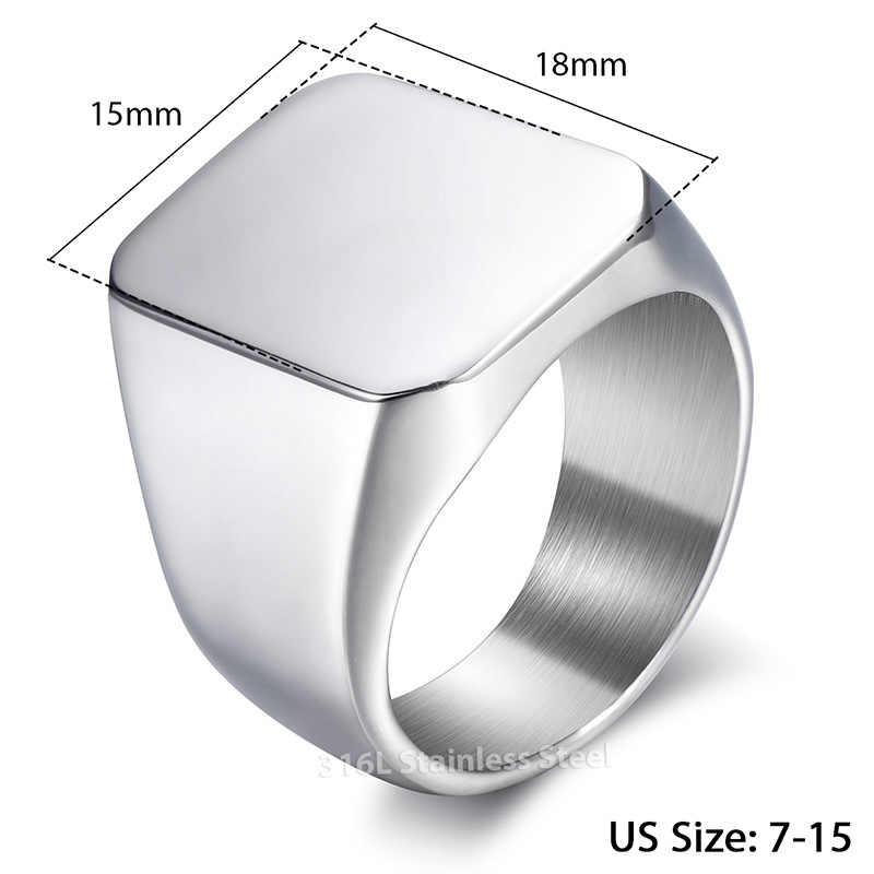 2a6ac77d8ce8 ... Clásico anillo de los hombres suave 316L anillos de acero inoxidable  negro oro plata Color venta