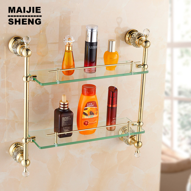 Gold crystal Bathroom shower glass shelf bath shower shelf corner rack gold shower holder bathroom shelf commodity holder shelf dehub super suction cup wlla mounted bathroom corner shelf shower organizer corner bathroom shelf shower rack bathroom rack