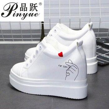 Baskets Blanches | 2019 Femmes Baskets Décontracté Plate-Forme Formateurs Chaussures Blanches 10 CM Talons Automne Cales Respirant Femme Hauteur Augmentant Chaussures
