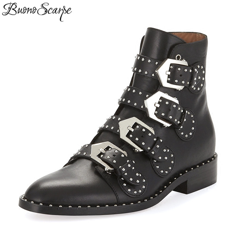 BuonoScarpe Black Real Leather Rivet Boots Women Pointed Toe Metal Belt Buckle Motorcycle Boots Woman Fashion