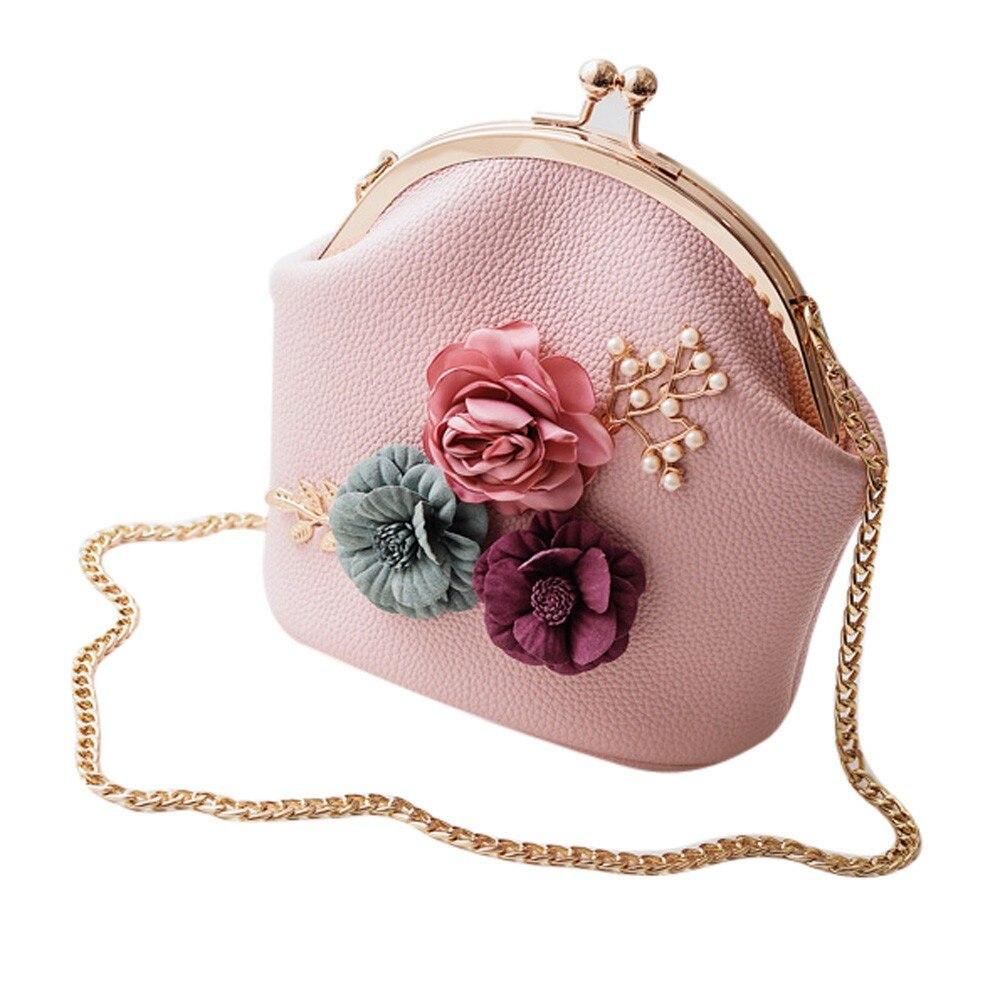 Beautiful Stereo Flowers Chains Straps Women Handbag Girls Shoulder Bag Small Tote Ladies Purse Women Messenger Bag Crossbody