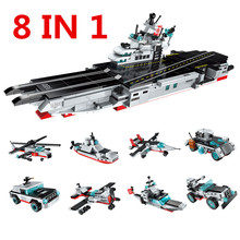 ENLIGHTEN 643Pcs LegoINGS Military Army Airplane Destroyer Aircraft Carrier Weapon Model Building Blocks Sets Toys for Children