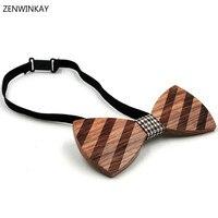 Nuovo stile femminile strisce di legno bow tie man wedding bowtie designer mariage donne cravatta di legno cravatte maschio papillon cravatta