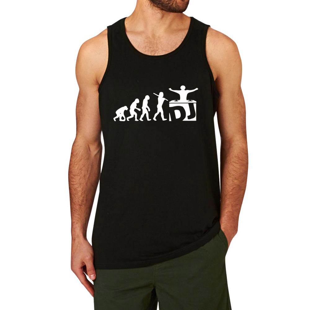 Mens DJ Evolution Music Mixing Djing Disk Workout Fitness Casual Tank Tops image