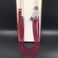 long fresh water pearl necklace multi layers semi precious stone 925 sterling silver with cubic zircon butterfly flower