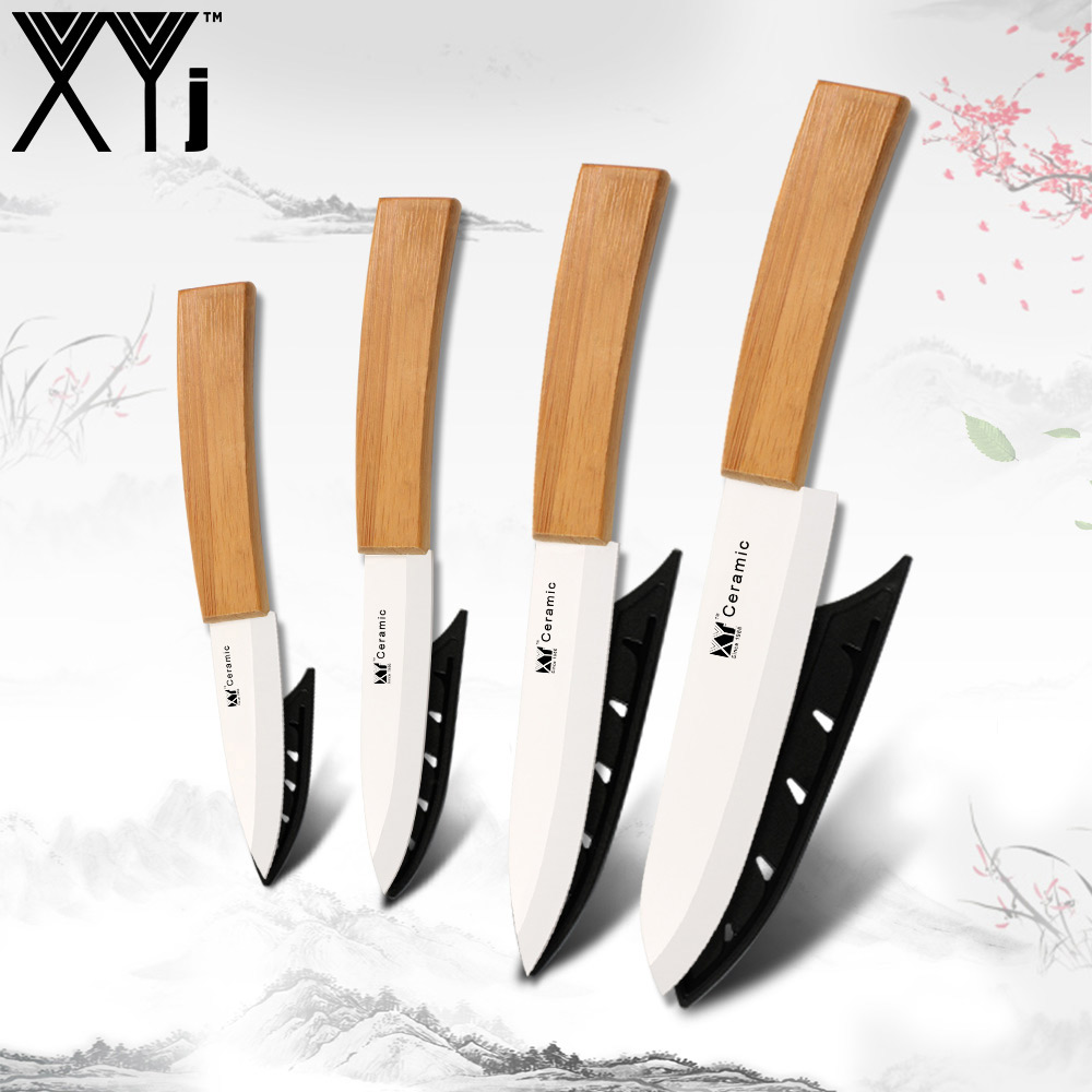 XYj Ceramic Zirconium Oxide Knives Meat Cleaver Bamboo Paring Utility Slicing Chef Kitchen Knife Sets Zirconia Cooking Tools