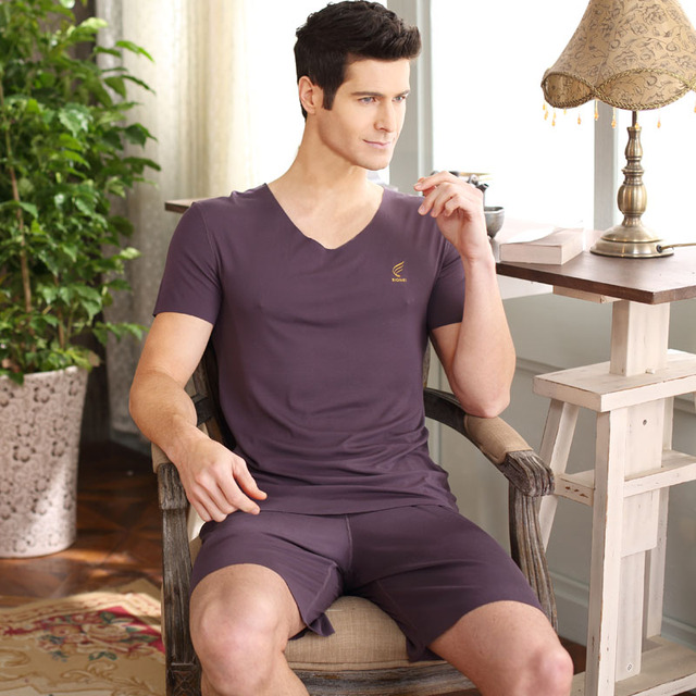 Nuevos Hombres Pijama Homewear Suave Viscosa ropa de Dormir de Verano Salón Pijama Pijama de Dormir Pijamas de Manga Corta Con Cuello En V Ocasional Sólido
