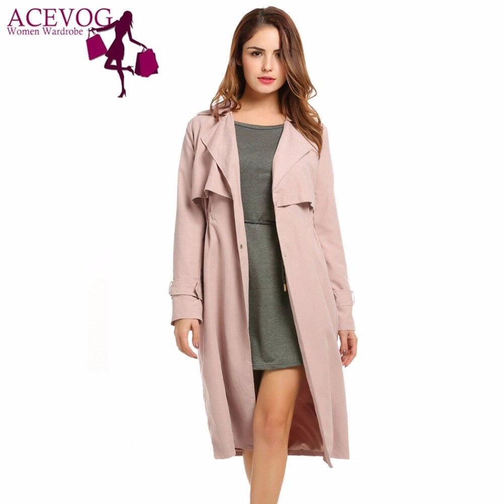 ACEVOG Для женщин пальто свободного кроя куртка осень однобортный легкий плащ длинные легкое пальто до середины икры ветровка с карманом