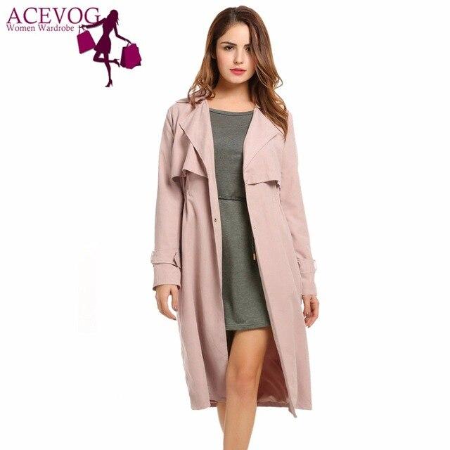 46f631094da ACEVOG Для женщин пальто свободного кроя куртка осень однобортный легкий  плащ длинные легкое пальто до середины
