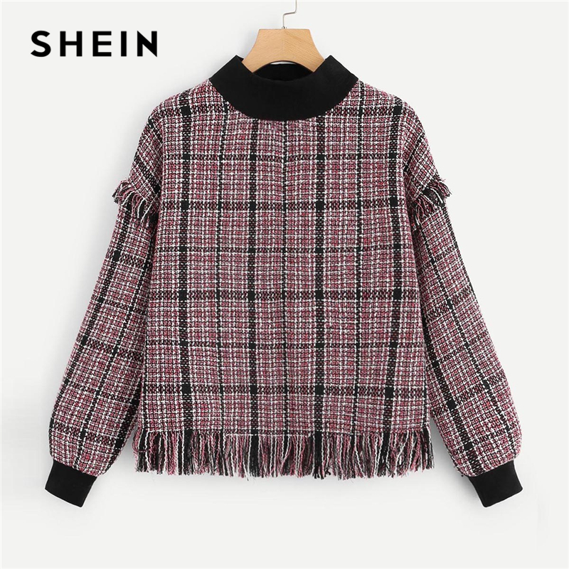SHEIN Multicolor Minimalist Casual Frayed Edge Mock-Neck Tweed Pullover Sweatshirt Autumn Preppy Campus Women Sweatshirts