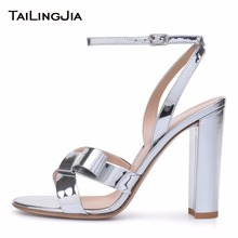 New Womens Open Toe Sandals High Heels Evening Shoes Shiny Knotted Block Heel Ladies Ankle Strap Silvery Summer