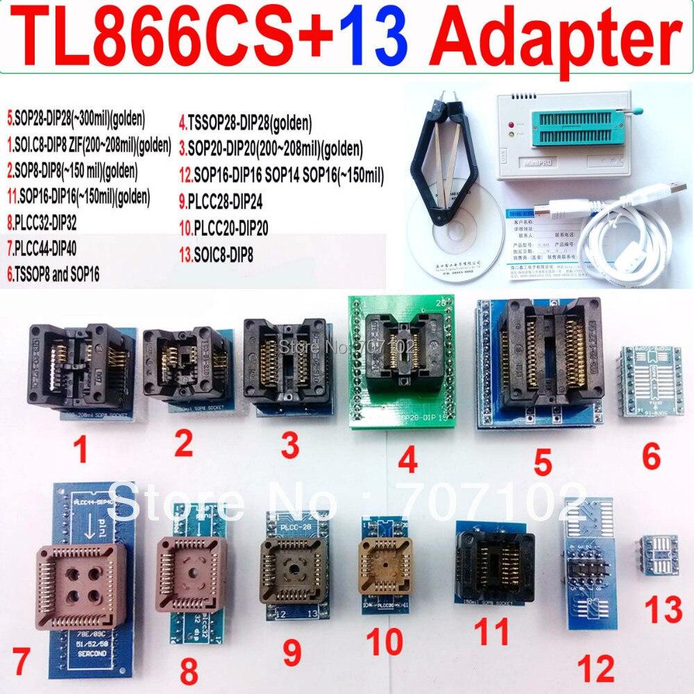 TL866CS font b programmer b font 13 universal adapters PLCC Extractor TL866 AVR PIC Bios 51
