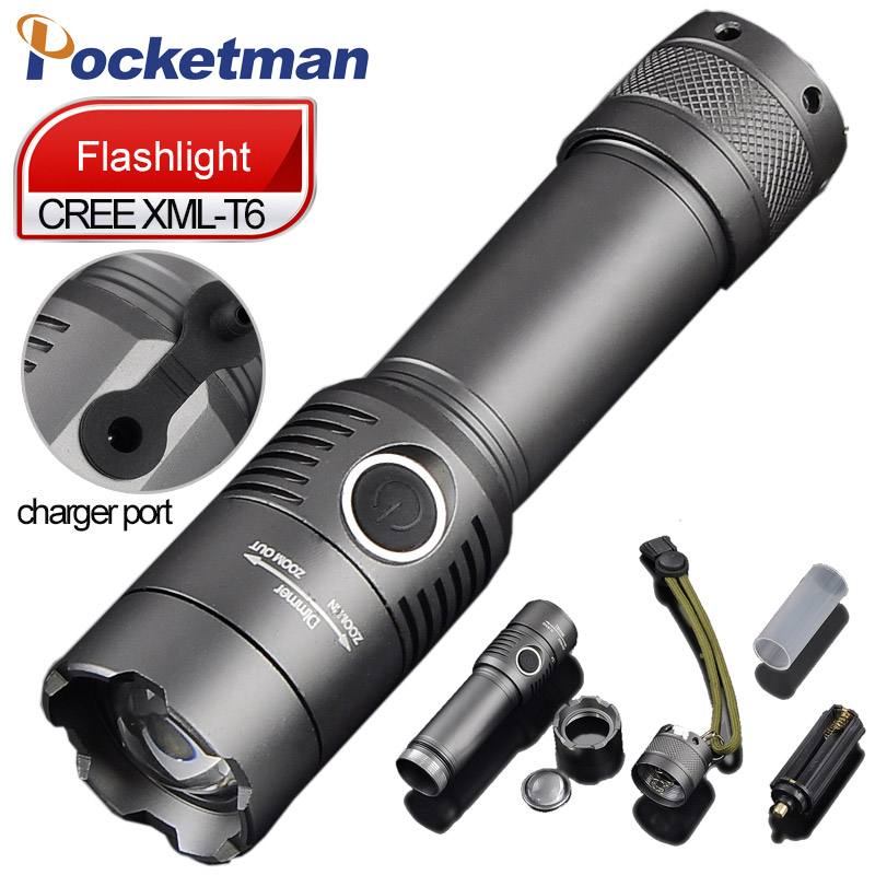 цена на 3800 Lumens Powerful LED Flashlight CREE T6 Rechagerable Keychain Torch 3 Modes Tactical Flashlight  Zoomable Torche Lampe ZK93