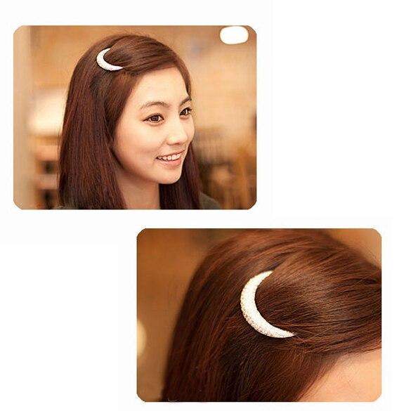 Womens Beautiful Crystal Moon Rhinestone Hair Clip Bang Clip Headdress Hairpin Clamps New H7JP