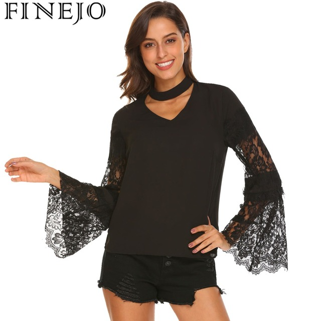 FINEJO Choker V Neck Lace Patchwork Chiffon Blouse 2018 Fashion Spring Women  Casual Lace Long Sleeve Blusas Shirt Loose Top 37a809be344c