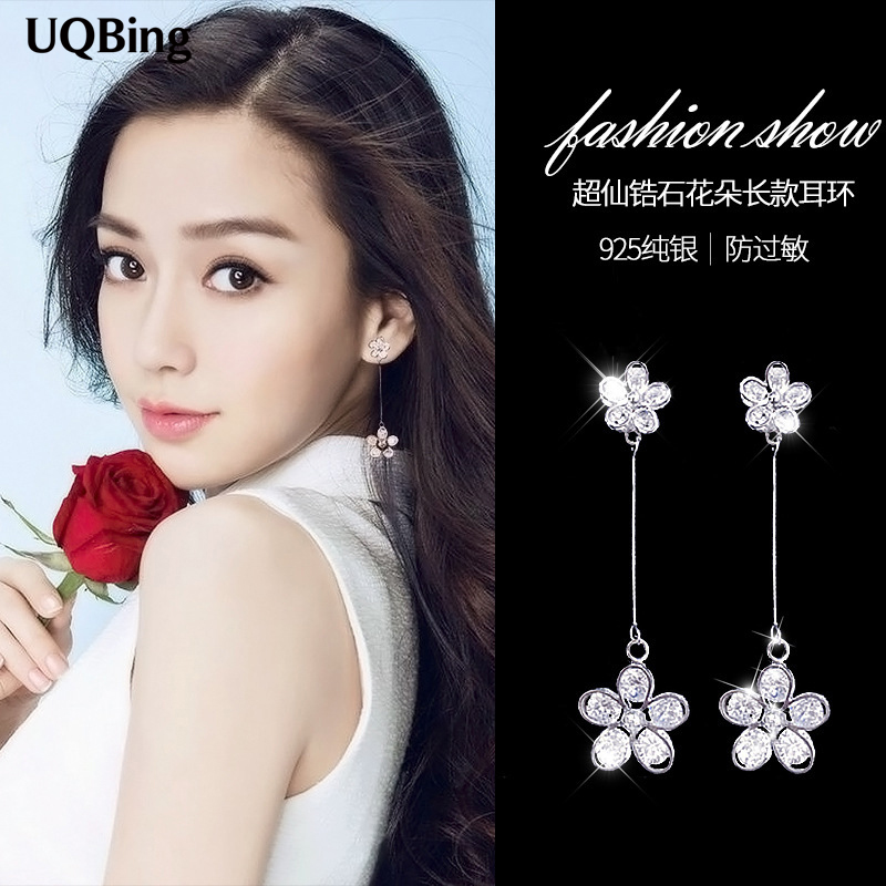 2017 New Arrivals Free Shipping Fashion 925 Sterling Silver Crystal Flower Stud Earrings For Women Jewelry