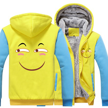 New Winter Jackets and Coats Funny face hoodie Anime Hooded Thick Zipper Men Sweatshirts
