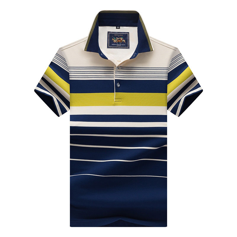 Brand New Mens   Polo   Shirt Summer Male Short Sleeve Plus Size Cotton Striped Slim Fit Casual   Polos   Men   Polo   Shirts 3XL AF8206