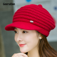 2017 New Top Quality Beret Hat Women Knitted Rabbit Beret Caps Double Deck Comfortable Warm Winter