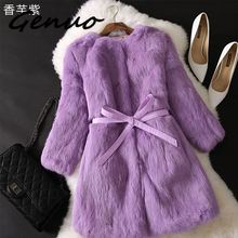 Genuo Autumn And Winter Large size Solid color Fur & Faux Fur Women 2019 New Casual Three Quarter sleeve Women Fur coat S-XXL casual women s satchel with zips and solid color design