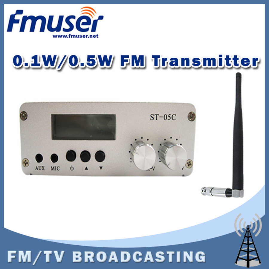 Free Shipping FMUSER ST-05C 0.1W/ 0.5W FM transmitter+antenna+power supply kit free shipping fmuser fu 30c new 30w fm transmitter 0 30w adjustable for fm radio station 1 2 wave dipole antenna kit