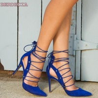 Dark Blue Suede Leather Female Pumps Pointed Toe High Heel Shoes Lace Up Woman Fashion Shoes