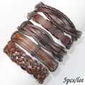 FL9-New 2017 brown bracelets bangles (5pcs/lot) charms ethnichandmade genuine braided wrap rope hemp leather bracelet for gift