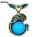 Joyería de moda Retro Craft Plateado Bronce Antiguo Milet Cadena Linda Cristalina Del Lucite Colgante Elefante Collar N190