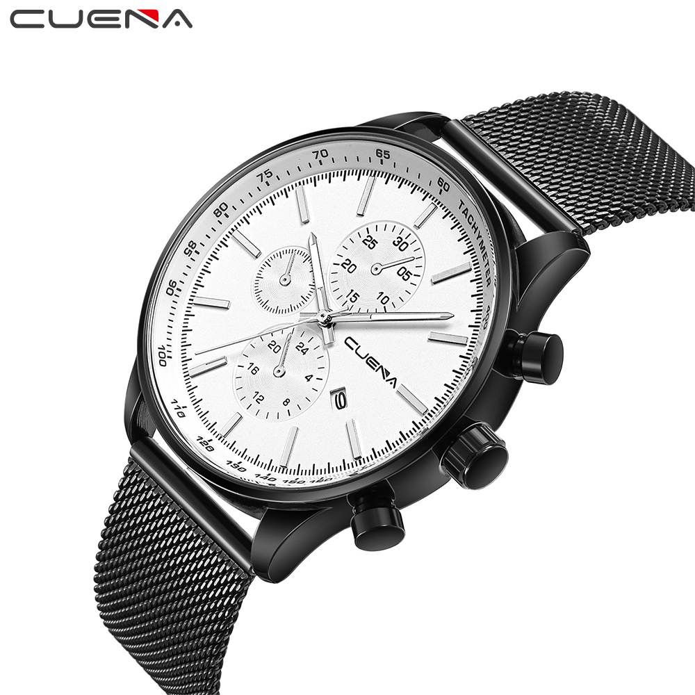 CUENA Men Watch Analog Quartz Watches Luxury Rose Waterproof Fashion Stainless Steel Wristwatches for Gift цена и фото