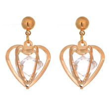 Fashion Gold Three Sides Pierced Heart Crystal Drop Earrings Hollow Out Rhinestone Crystal Heart Cone Drop Earrings For Women