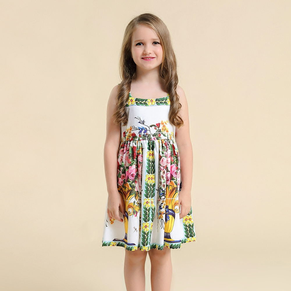 Spring Summer kids clothes mom girls family matching clothing mother and daughter vase print dress girl vest holiday beach dress summer children clothing family clothes kids infant girls women opulent rose print dress matching mother daughter fashion dress