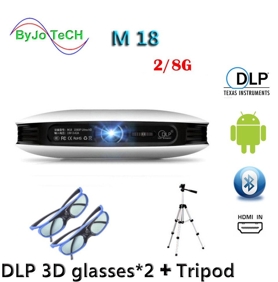 ByJoTeCH M18 projecteur 2G 8G 3D lunettes trépied 3D Android WIFI Proyector 4 K Beamer AirPlay Miracast batterie intégrée Vs dlp800w