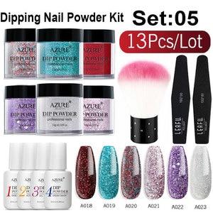 Image 2 - Azure Beauty 13Pcs/Lot Shiny Gradient Color Dipping Powder Chameleon Sequins Nail Powder Natural Dry Nail Art Brush Tools Set