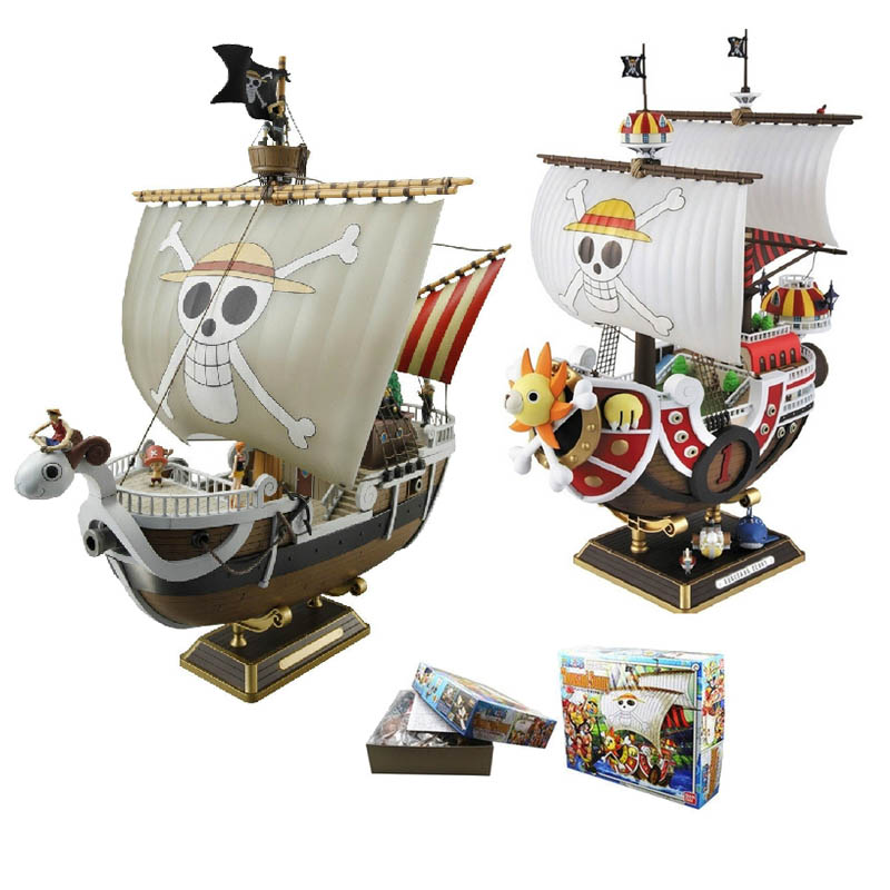 2 Style One Piece Thousand Sunny Going Merry Pirate ship 28 Height PVC Action Figure Collectible Model Toy 12 style one piece diamond building blocks going merry thousand sunny nine snakes submarine model toys diy mini bricks gifts