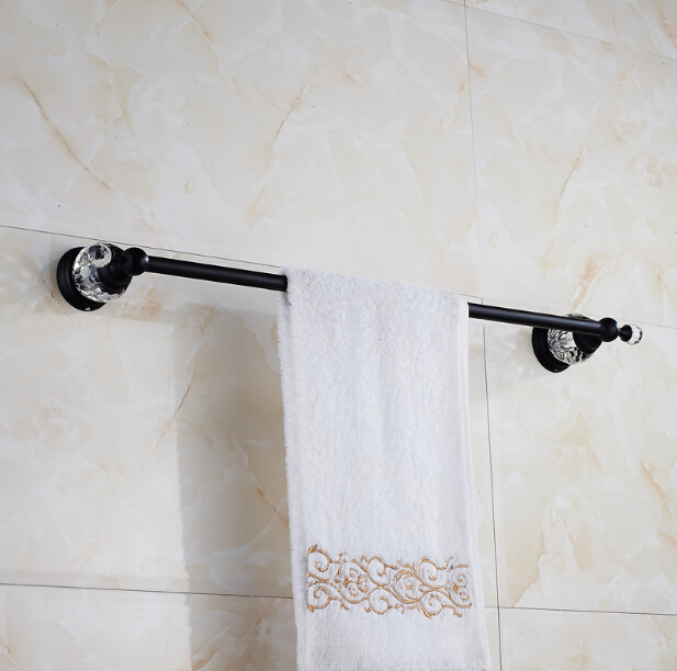 High Quality Single Towel Bar,Towel Holder, Towel rack Solid Brass & Crystal Made,Black Oil Brushed Finish, Bathroom Accessories new thickened solid brass towel rack single towel bar towel ring black
