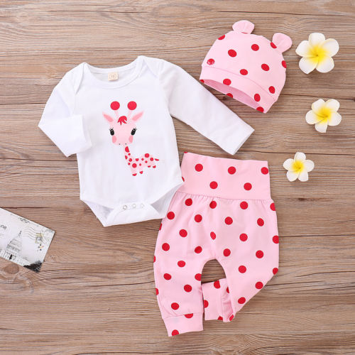 Baby Girls 3Pcs Clothes Set Long Sleeve Romper Tops Polka Dot Pants  Outfits UK