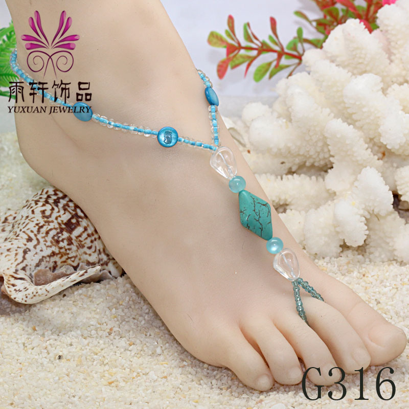 Beautiful Beaded Foot Jewelry Beach Barefoot