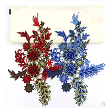 5PCS Beautiful 3D Flower Embroidery Patches Bridal Lace Sewing On Fabric Applique Clothes Tulle DIY Wedding Dress Crafts