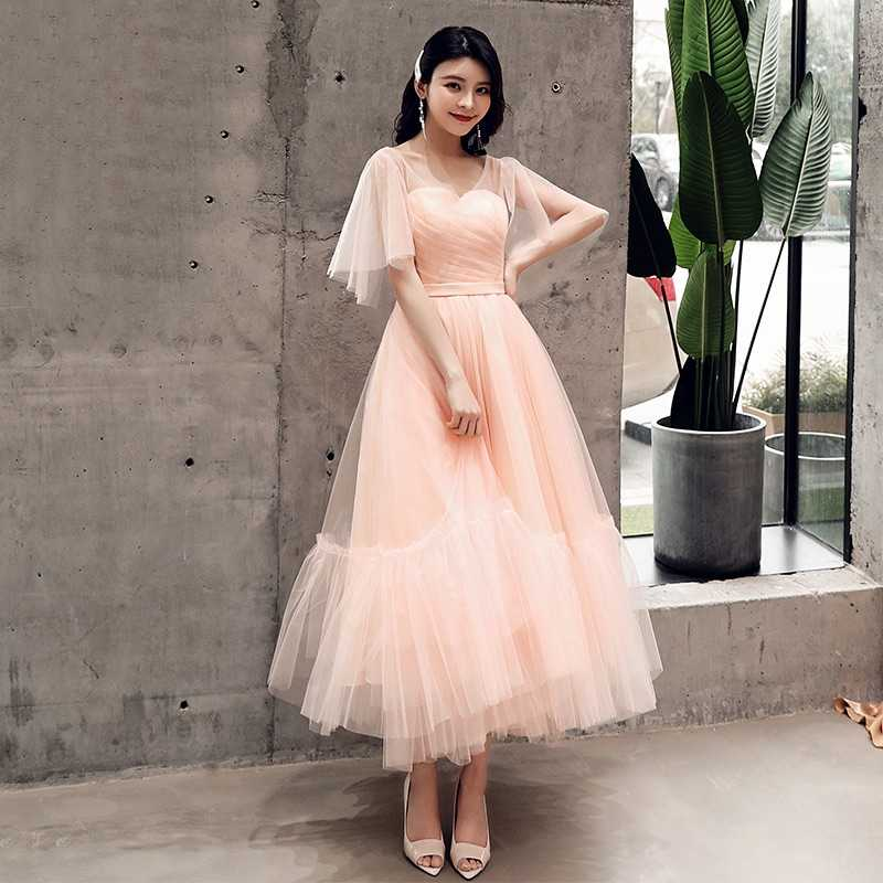 Bridesmaid Dresses 2019 Puffy Dresses For Prom Sliver Gray Robe Ceremonie Femme Gown Tulle Sister Of The Bride Dresses TS1128