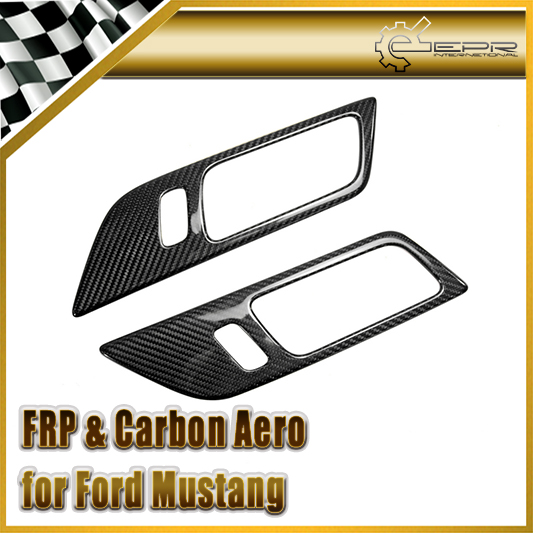 Car styling For Ford 2015 Mustang Carbon Fiber Inner Door Handle Trim For LHD only