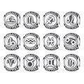 925 Sterling Silver Aquarius Star Sign Zodiac Beads fit Charm Pandora Bracelets Twelve Constellations DIY Fine Jewelry Making